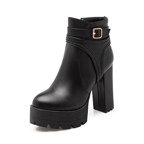 AgooLar Women's High-Heels Low-Top Solid Zipper Boots Black