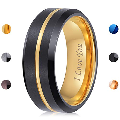 - LaurieCinya Tungsten Carbide Ring Men Women Wedding Band Engagement Ring 8mm Comfort Fit Engraved 'I Love You' Gold