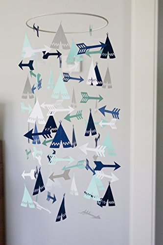 (Mint and Navy Tepee and Arrow Crib Mobile )