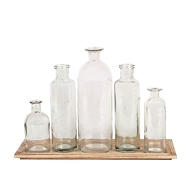Creative Co-Op DA2672 Wood Tray with Glass Bottle Vases