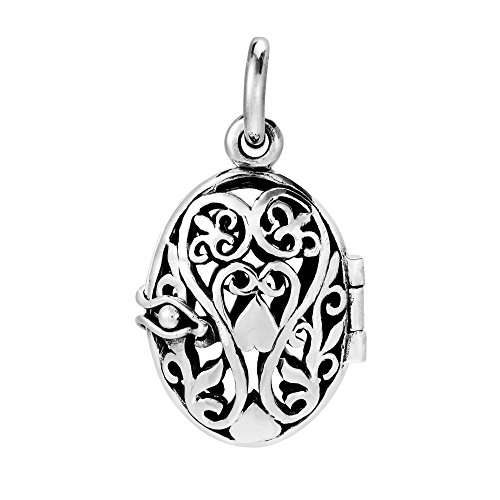 Blooming Romance Filigree Heart Locket .925 Sterling Silver Pendant Vintage Silver Lockets