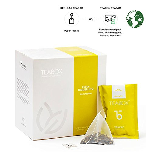 Teabox Darjeeling Oolong Tea 1.42oz, 16 Teapac Teabags | Sealed-at-Source Freshness from India