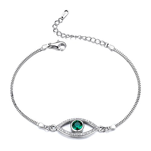 (Goldminetrade GTB2011 S925 Silver CZ Stones Simulated Emerald Evil-Eye Chain Bracelet Rhodium Plated Main Stone 1.15 Carats)