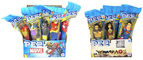 PEZ Marvel and Justice League Candy Dispensers Individually Wrapped PEZ Candy and Dispensers with Tru Inertia Kazoo (24 Pack) (Pez Avengers Dispensers)