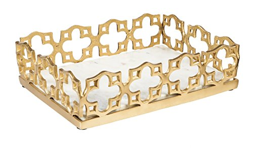 Cape Craftsmen Gold Cast Aluminum Tray with White Marble Stone Base