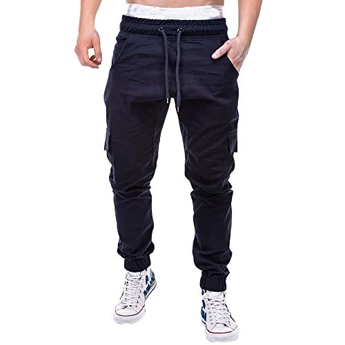 (COPPEN Men Pant Sport Pure Color Bandage Casual Loose Sweatpants Drawstring Navy)