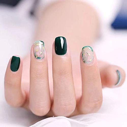 HeeJinn Short False Nails, Dark Green and Gold Foil Fake Nails, Full Cover Nails With Glue Artificial Nails for Women]()