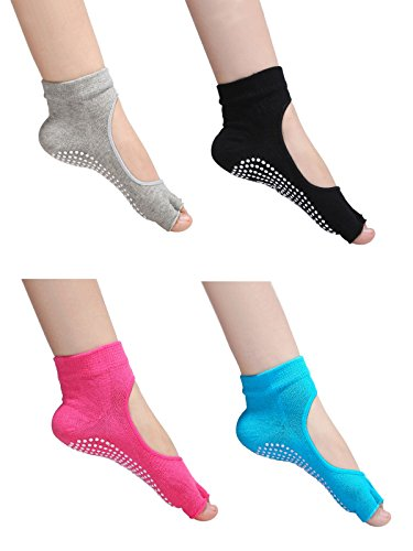 Merino Mohair Lace (Zando Womens Cotton Non Slip Skid Toeless Pilates Barre Grip Yoga Socks 4 Pairs A)