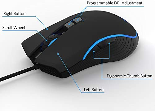 FIODIO Wired Gaming Mouse, 4 RGB LED Backlight Modes Computer Gaming Mice, Comfortable Ergonomic Optical PC Laptop Gamer Mouse for Windows 7/8.1/10