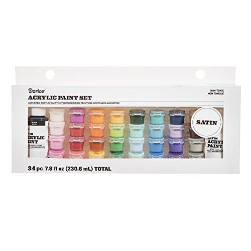 Darice 30049384 Acrylic Paint Pot Set: Satin, Assorted Sizes/Colors, 34 Pack
