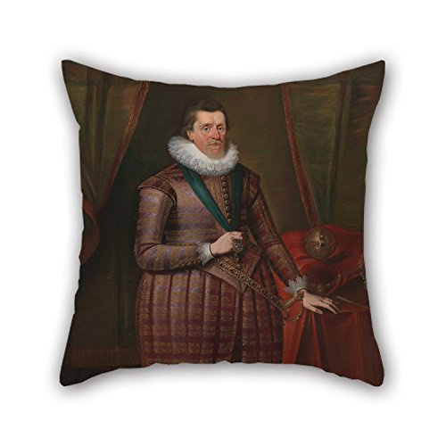 Alphadecor Oil Painting Paul Van Somer - James I Of England (James VI Of Scotland) Pillow Covers ,best For Boys,family,wife,living Room,office,christmas 18 X 18 Inches / 45 By 45 Cm(double