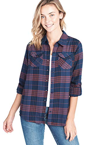 (ICONICC Women's Long Sleeve Flannel Plaid Shirt (CT0023_02_XL))
