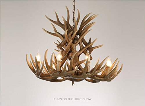 Creative Retro Resin Antler Chandelier E14 Hanging Line Lamps 6/9/12 Head Candle Pendant Lamp showroom/coffee/bar Indoor Decoration Lighting (Without Bulb) (Style : 9 heads)