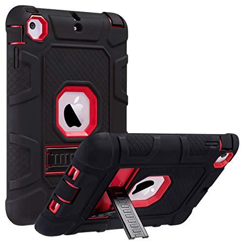 ULAK iPad Mini Case,iPad Mini 2 Case,iPad Mini 3 Case,iPad Mini Retina Case, Three Layer Heavy Duty Shockproof Protective Case for iPad Mini,iPad Mini 2,iPad Mini 3 with Kickstand (Red/Black)