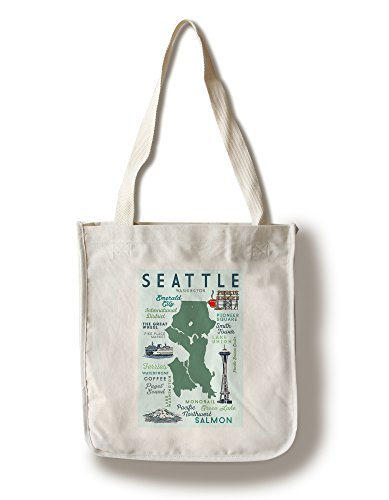 Seattle, Washington - Typography and Icons (100% Cotton Tote Bag - - Seattle Shopping