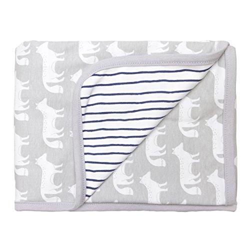 Blue Banana Baby Boys' Reversible Blanket, Grey/Navy One Size