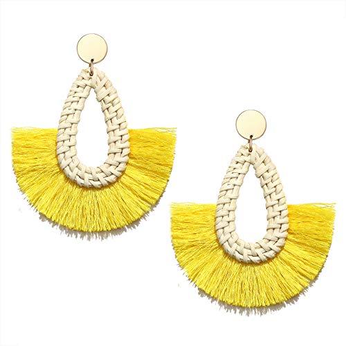 Seni Rattan Tassel Earrings for Women Boho Fan Tassel Fringe Earrings Straw Wicker Woven Drop Dangle Earrings Statement Rattan Hoop Stud Earrings (Yellow) - Geometric Yellow Earrings