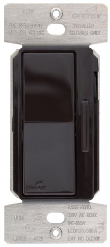 Eaton DLC03P-B 300-Watt Dimmable LED/Compact Fluorescent/600-Watt Incandescent/Halogen Decorator Dimmer with Preset, Brown