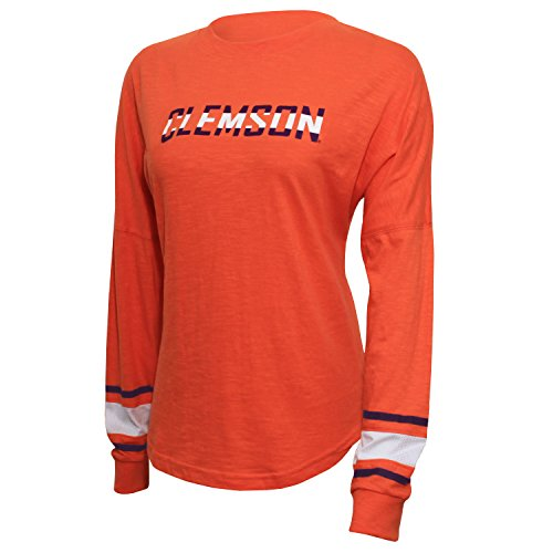 NCAA Clemson Tigers Women's Campus Specialties Long Sleeve Fan Tee, Large, Orange