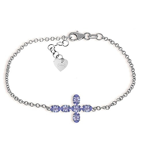 ALARRI 1.7 CTW 14K Solid White Gold Cross Bracelet Natural Tanzanite Size 8.5 Inch Length by ALARRI