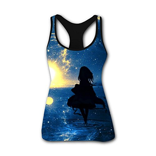 Women's Sky Full of Stars 3D Printed Summer Sleeveless Shirt Vest Tank Tops S (Afterglow Shimmer)