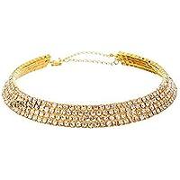 GIRISA Crystal Diamante Rhinestone Necklace Wedding Party Choker for Girls and Women
