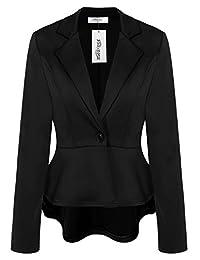 Meaneor Women's Crop Frill Shift Slim Fit Peplum Blazer Jacket Coat Black XL