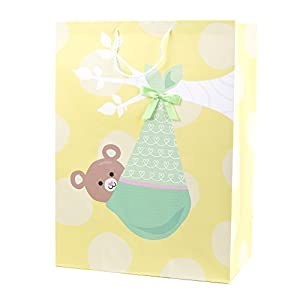 "Hallmark 20"" Oversized Baby Gift Bag (Bear in Blanket, Yellow and Green) for Baby Showers, New Parents and More"