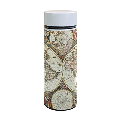 (DEYYA Old World Map Hemisphere Pattern Print Double Walled Vacuum Insulated Stainless Steel Water Bottle Vacuum Flask Travel Mug Thermos Coffee Cup 12 oz)