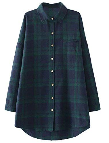 Manches Flanelle Vert MatchLife Tailles Chemise Ecossaise Femme Longues Grandes Bleu qnp11g