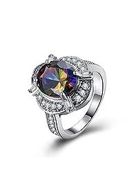 Glaring Silver Rainbow Mystic Topaz Engagement Wedding Rings for Women Fashion Jewellery R2121