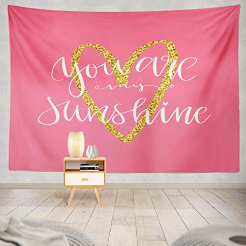 FINOY You-are-My-Sunshine Tapestry Wall Hanging,Greeting You Sunshine White Calligraphy Pink with Tapestry Wall Art Throw Tapestry for Bedroom 60L x 80W,Greeting Card You