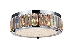"Saint Mossi Modern Drum K9 Crystal Raindrop Chandelier Lighting Flush mount LED Ceiling Light Fixture Pendant Lamp for Dining Room Bathroom Bedroom Livingroom 9 G9 Bulbs Required H5"" X D17"""