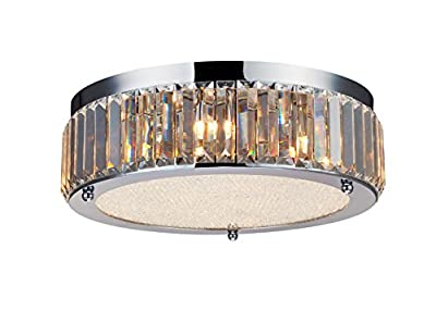 """Saint Mossi Crystal Flush Mount Drum Chandelier Modern & Contemporary Ceiling Light 9 G9 Bulbs Required H5"""" X D17"""""""