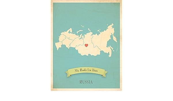 Mapa de pared, mi raíces Rusia personalizado pared mapa 11 x 14 ...