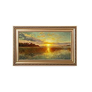 DecorArts - Sunset Over a Danish Fjord, Peder Mork Monsted Art Reproductions. Giclee Printed w/ Embossed Gold Frame for Wall Decor. Framed size: 36x22""