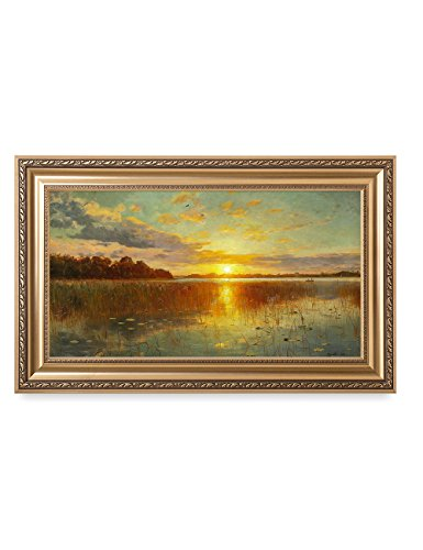 DECORARTS Sunset Over a Danish Fjord, Peder Mork Monsted Art Reproductions. Giclee Printed w/Embossed Gold Frame for Wall Decor. Framed size: 36x22