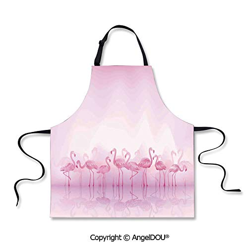 SCOXIXI Printed Unique Cool Kitchen Apron Flock of Caribbean Flamingos Over Lake and Birds Abstract Dreamy Reflection Print Home Cooking BBQ Apron Cleaning Accessory.