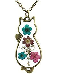 """Multicolor Dried Flowers Cat Shape Pendant Necklace with 27"""" Long Chain FN2098"""