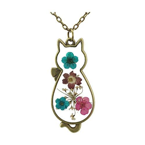 Fm Fm42 Multicolor Dried Flowers Cat Shape Pendant Necklace With 27  Long Chain Fn2098