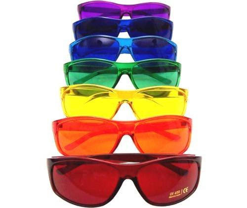 Color Therapy Glasses Pro Style Set of 7 Colors, Poker Sunglasses [Also Available in Set of 9 or 10]