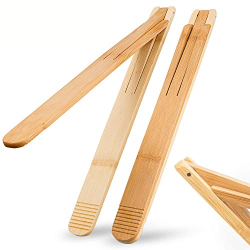 Bamboo Wood Salad Tongs with Space Saving Collapsible Spring, Enhanced Grip for Kitchen, BBQ Cooking, Camping or Grill, Foldable Carry or Storage, Flipping and Serving   Set of 2