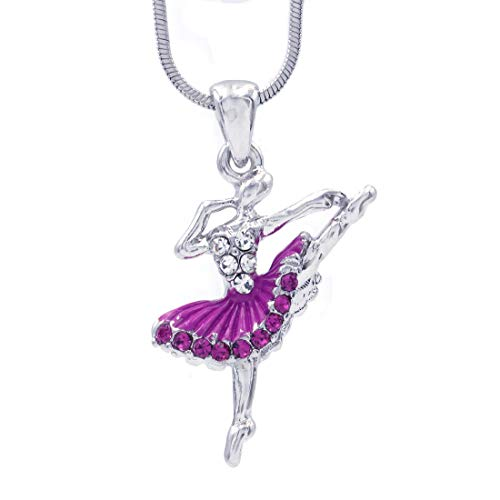 Soulbreezecollection Dancing Ballerina Dancer Dance Pendant Necklace Charm Designer Ballet Jewelry (Purple A)