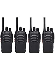 BaoFeng BF-888S(BF-88A) FRS Radio Walkie Talkie 0.5W 16-Channel Two Way Radio with Earpiece, LED Flashlight, USB Charger 4 Pack
