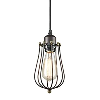 YOBO Lighting Industrial Edison Hanging Lamps Oil Rubbed Bronze Wire Caged 1-light Mini Pendant Lights