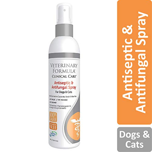 Veterinary Formula Clinical Care Antiseptic and Antifungal Spray for Dogs and Cats - Medicated Topical Spray Treatment for Fungal and Bacterial Skin Infections in Dogs and Cats, Fast Acting, Heal and Soothe Infections (8 oz bottle) (Flea Medicine For Cats With Sensitive Skin)