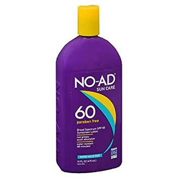 No-Ad Spf 60 Sunscreen Lotion 16 Ounce 473ml 3 Pack