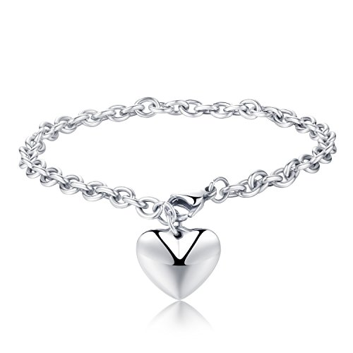 [Areke Stainless Steel Chain Bracelets with Dangle Heart Charm 7.5 inch Style Silver] (Homemade Costumes Teenage Girls)