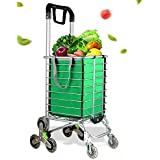 Folding Shopping Cart, Portable Utility Shopping Cart with One Shopping Cart Bag Liner and Rolling Swivel Wheels for Grocery and Stairs, 177 Pounds Capacity, 360° Rotating Handle