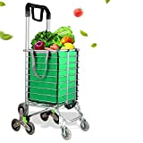 Folding Shopping Cart, Portable Utility Shopping Cart with One Shopping Cart Bag Liner and Rolling Swivel Wheels for Grocery and Stairs, 35 L/177 Pounds Capacity, 360° Rotating Handle